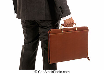 Unrecognizable businessman back with suitcase isolated on white background