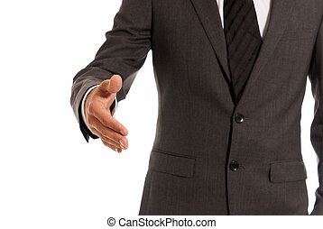 Unrecognizable businessman handshake closeup copy-space isolated on white background