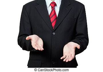 Unrecognizable businessman with empty hands isolated on white