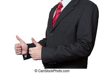 Unrecognizable businessman with thumbs up isolated on white