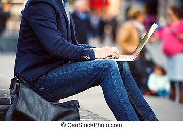 unrecognizable, directeur, ordinateur portable, ...