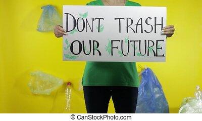 unrecognizable, dzierżawa, plastyk, protestując, śmieci, don...