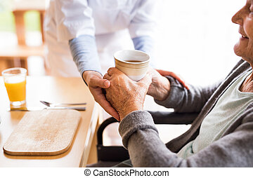 unrecognizable, enfermera seguridad social, y, un, mujer...
