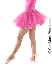 Unrecognizable female dancer with tutu isolated on white background.