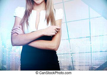 unrecognizable, kobieta interesu, w, nowoczesny, miasto