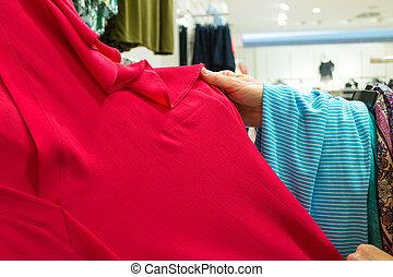 unrecognizable, magasin, personne, vêtements