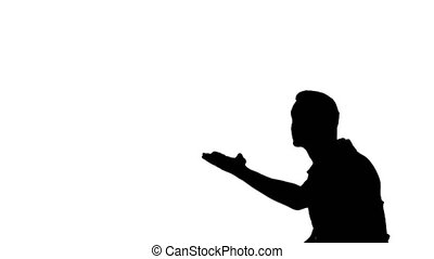 Unrecognizable man silhouette showing how to dance - white...