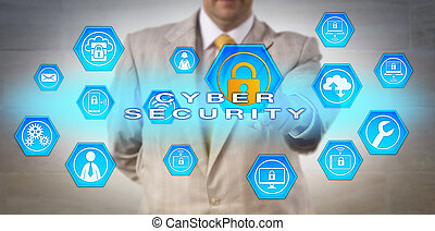 Unrecognizable Manager Pointing at CYBER SECURITY