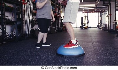 Unrecognizable overweight woman with coach in gym exercising.