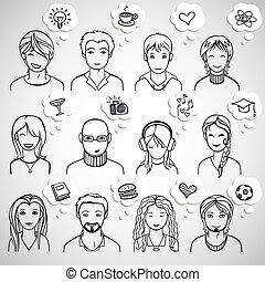 unrecognizable men and women faces, vector illustration