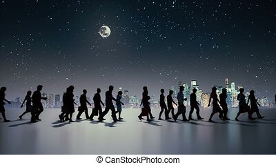 Unrecognizable people silhouette walking at night -...