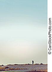 Unrecognizable person walking on wasteland horizon