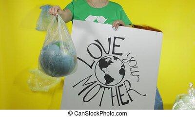 unrecognizable, plastyk, protestując, ziemia, ekologia, kula...