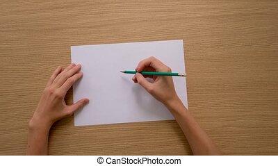 unrecognizable, récolte, crayon, illustrateur, papier, feuille, vide