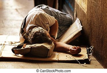 unrecognizable, sin hogar, sueño