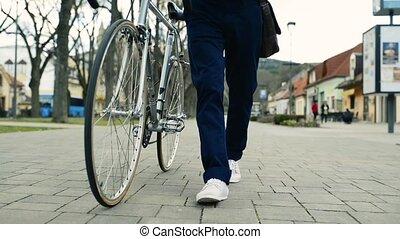 unrecognizable, uomo, Bicicletta, Città