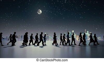 unrecognizable, wandelende, nacht, silhouette, mensen