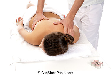 Unrecognizable woman receiving massage relax treatment close-up from male hands