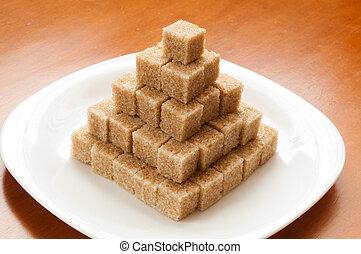 Unrefined sugar on a plate
