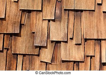 Unregular pattern of Western red cedar shingles