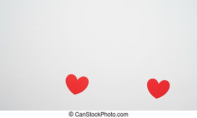 unrequited love of paper heart, isolated on white