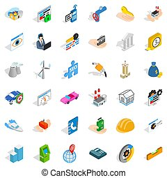 Unrest icons set, isometric style