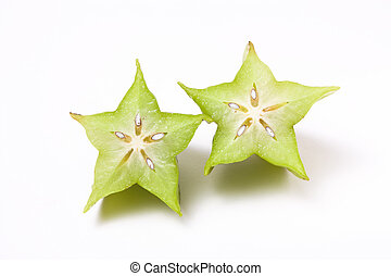 Star Fruit - Unripe Asian Star Fruit isolated against white...