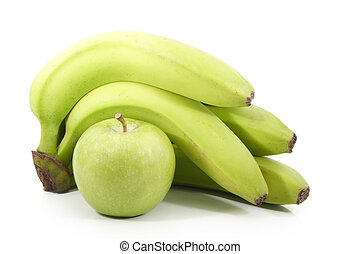 unripe banana and green apple