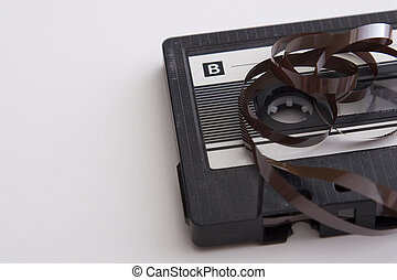unroll tape cassette - old tape cassette with cover sticker ...