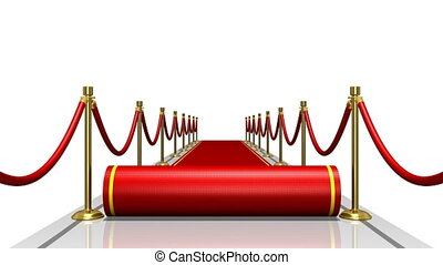 Unrolling red carpet in front view