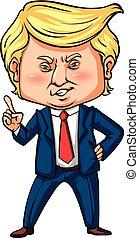 uns, finger, trumpf, präsident, zeigen, seine