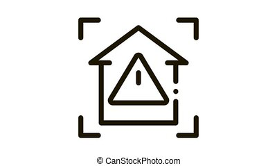 unsafe home detection Icon Animation. black unsafe home detection animated icon on white background