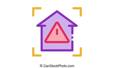 unsafe home detection Icon Animation. color unsafe home detection animated icon on white background