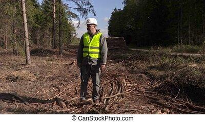 Unsatisfied lumberjack in forest