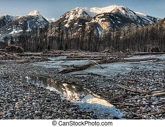 Unsaturated Dark Riverside Mountain Relection - Mountain ...