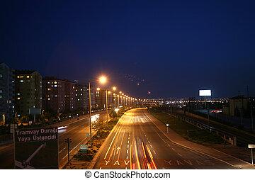 unscharfe bewegung autos, lichter, auf, landstraße, nacht