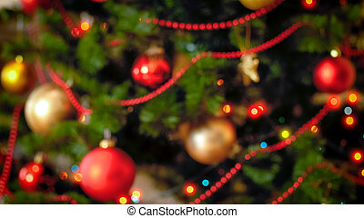 unscharfer hintergrund, für, winter, feiern, mit, dekoriert, weihnachtsbaum