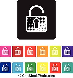 unsecured website icon set