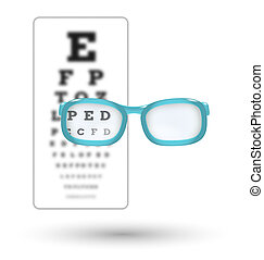 unsharp snellen chart and sharp letter with glasses on white background
