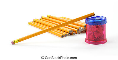 Unsharpened pencil on sharpener