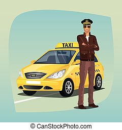 Unshaved taxi driver with yellow car