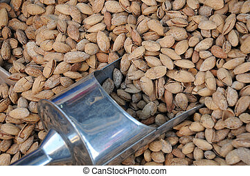 Unshelled Almonds and Metal Scoop