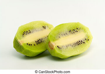 Unshelled Kiwi Fruits On White Background