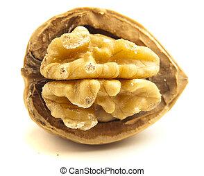 unshelled nut isolated on white background