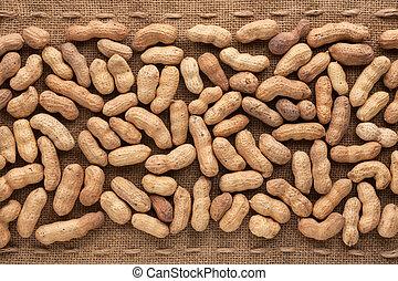 Unshelled peanut lying on sackcloth