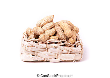 peanuts isolated in basket on white background