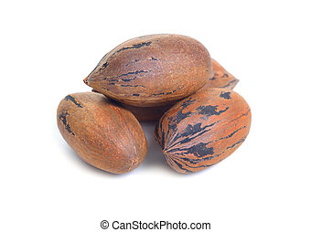 UnShelled pecan nuts isolated on white background.
