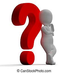 unsicher, verwirrung, ausstellung, fragezeichen, oder, mann