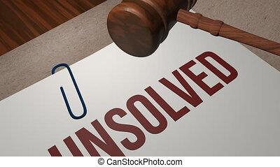 unsolved, concept, légal, crime