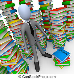 Unsorted Archive - 3d person with lots of books around him.